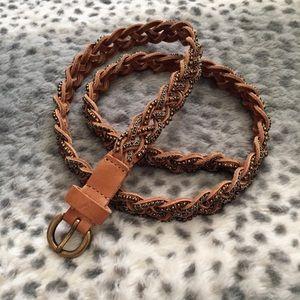 J.Crew Braided Leather Belt w/ Metal Studs